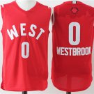MENS THUNDER #0 RUSSELL WESTBROOK CHRISTAMS RED STITCHED JERSEY