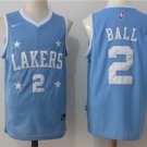 MENS LAKERS #2 LONZO BALL BLUE STITCHED BASKETBALL JERSEY
