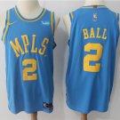 MENS LAKERS #2 LONZO BALL BLUE BASKETBALL JERSEY
