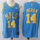 MENS LAKERS #14 BRANDON INGRAM BLUE BASKETBALL JERSEY