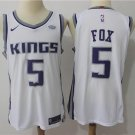 MENS KINGS #5 DE'AARON FOX WHITE STITCHED BASKETBALL JERSEY