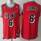 MENS HEATS #6 LEBRON JAMES RED STITCHED JERSEY