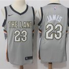 MENS CAVALIERS #23 LEBRON JAMES GRAY BASKETBALL JERSEY