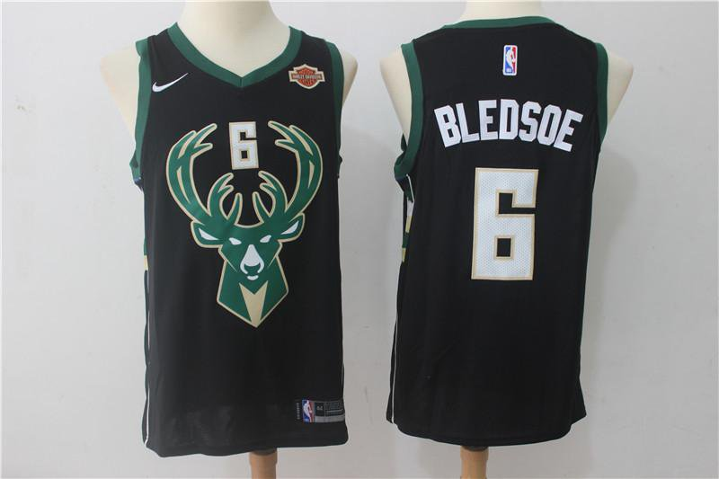 MENS BUCKS #6 ERIC BLEDSOE BLACK BASKETBALL JERSEY