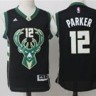 MENS BUCKS #12 JABARI PARKER BLACK BASKETBALL JERSEY