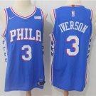 MENS 76ERS #3 ALLEN IVERSON BLUE STITCHED BASKETBALL JERSEY