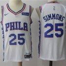 MENS 76ERS #25 BEN SIMMONS WHITE BASKETBALL JERSEY