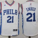 MENS 76ERS #21 JOEL EMBIID WHITE STITCHED BASKETBALL JERSEY