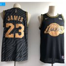 Men's Lakers 23# Lebron James Basketball Jesey Black-Gold 2018-19