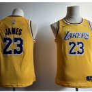 Youth New Lakers 23# Lebron James Jesey Yellow 2018-19