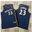 Men's Wizards 23# Michael Jordan Blue Basketball Jersey Throwback Fine Embroidery