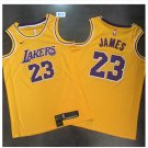 Mens Lakers 23# LeBron James Yellow Basketball Jersey Fine Embroidery throwback
