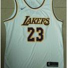 Mens Lebron James #23 Lakers basketball jesey – white 2018-19 throwback