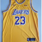 Mens  Lebron James #23 Lakers basketball jesey – yellow 2018-19 throwback