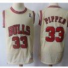 Mens Chicago Bulls 33# Scottie Pippen Jersey Cream white throwback