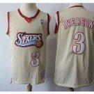 Mens Philadelphia 76ers 3# Allen Iverson Jersey Cream white throwback