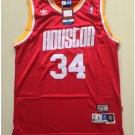 Mens Houston Rockets 34# Hakeem Olajuwon Throwback Jersey Red