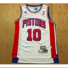Mens  Detroit Pistons 10# Dennis Keith Rodman Basketball jersey white