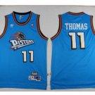 Men's Detroit Pistons 11# Isiah Thomas Blue Basketball Throwback Jersey