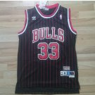 Men's Chicago Bulls 33# Scottie Pippen Black Stripe Basketball Throwback Jersey