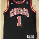 Men's  Chicago Bulls #1 Derrick Rose Black Basketball Jersey Throwback