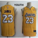 Youth Kids Los Angeles Lakers 23# LeBron James Yellow Basketball Jersey