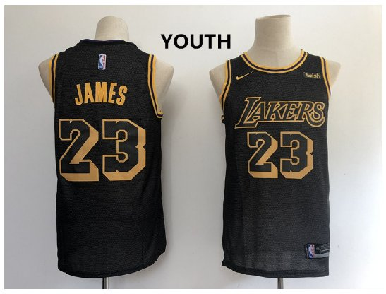 Youth Los Angeles Lakers 23# LeBron James Black Basketball Jersey