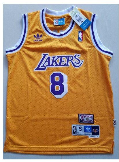 Youth Los Angeles Lakers #8 Kobe Bryant Yellow Basketball Jersey