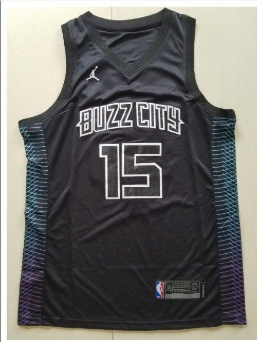 Men's 2018 Charlotte Hornets 15# Kemba Walker Basketball Jersey Black