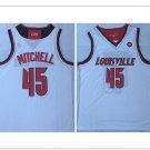 Men's University of Louisville 45# Donovan Mitchell Basketball Throwback Jersey White NCAA