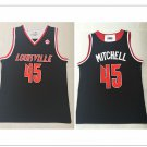 Men's University of Louisville 45# Donovan Mitchell Basketball Throwback Jersey Black NCAA