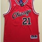 Men's Chicago Bulls 21# Jimmy Butler Red Basketball Throwback Jersey