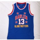 Men's Harlem Globetrotters 13# Wilt Chamberlain Blue Basketball Throwback Jersey NCAA