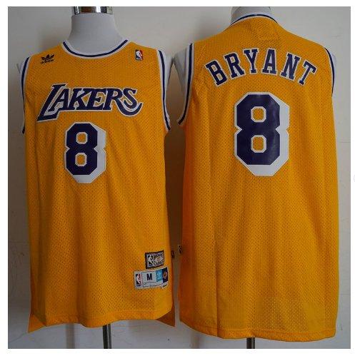 Mens Los Angeles Lakers 8# Kobe Bryant Swingman Basketball 3D Jersey Yellow Throwback