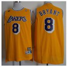 Mens Los Angeles Lakers 8# Kobe Bryant Swingman Basketball 3D Jersey Yellow Throwback