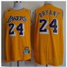 Mens Los Angeles Lakers 24# Kobe Bryant Swingman Basketball 3D Jersey Yellow Throwback