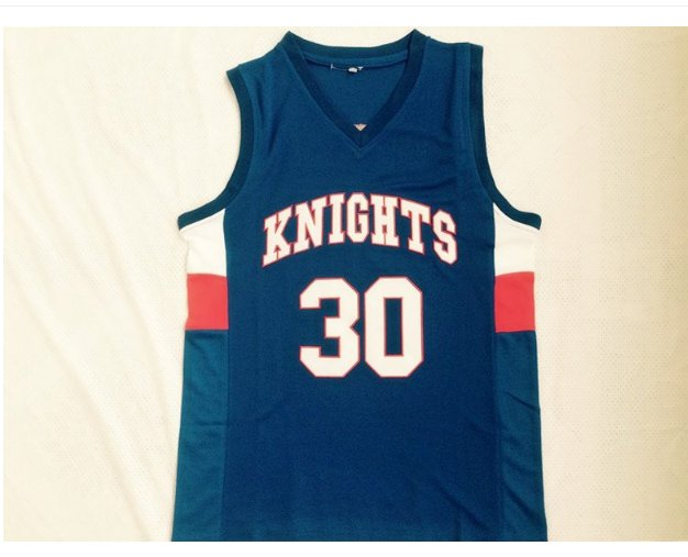Mens Stephen Curry #30 Charlotte Christian Knights High School Basketball Jersey blue