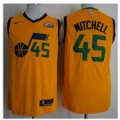 MENS New Utah Jazz 45# Donovan Mitchell Basketball Stitched Jersey Yellow