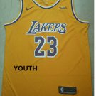 Youth Lakers #23 LeBron James Yellow Jersey Circular collar 2018-19