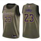 Men's Los Angeles Lakers #23 LeBron James Jersey Army green New