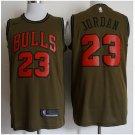 Men's Chicago Bulls #23 Michael Jordan Jersey Army green New