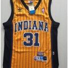 Indiana Peacers 31# Reggie Miller Yellow Basketball Throwback Jersey