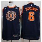 Mens New York Knicks 6 Kristaps Porzingis Basketball Jersey Black
