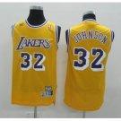 Mens Lakers 32# Magic Johnson NBA Basketball Jersey Yellow Stitched