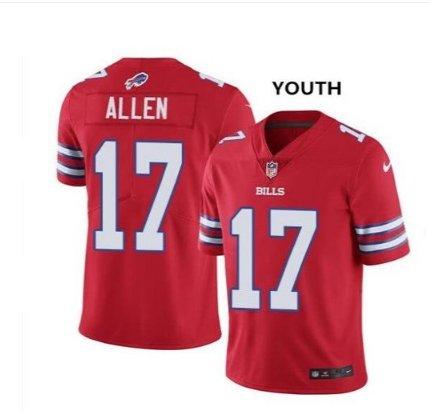 Youth kid Bills #17 josh allen Color rush jersey red
