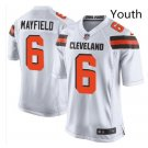 Youth Kid Browns #6 Baker Mayfield jersey white