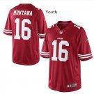 Youth kids San Francisco 49ers #16 Joe Montana Stitched jersey red
