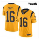 Youth Rams #16 Jared Goff football jersey yellow
