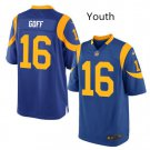 Youth Rams #16 Jared Goff game jersey blue