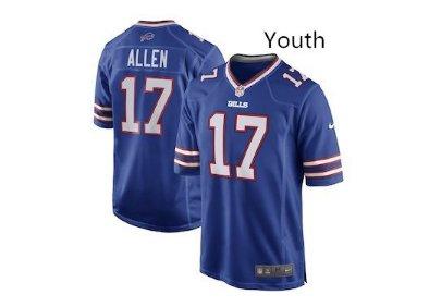 Youth kid Bills #17 josh allen football jersey game jersey navy blue